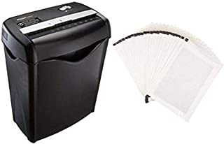 Amazon Basics 6-Sheet Cross-Cut Paper Shredder and Shredder Sharpening & Lubricant Sheets (Pack of 24) Bundle