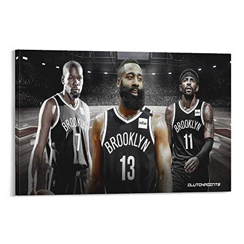 Póster de Harden, The Nets' Big Three Posters, Brooklyn Nets Harden, Kyrie Irving y Kevin Durant, póster de jugador real, el equipo más fuerte, equipo estrella, jugador de baloncesto