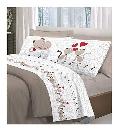 ALAMBRA Juego de sábanas, par de sábanas para cama de matrimonio de algodón con diseño de gatos y corazones, fabricado en Italia (Beige, matrimonial)