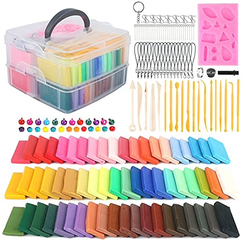 YLOKO Polymer Clay Kit, 60 Color Art Baking Modeling Clay, Oven Bake Clay with...