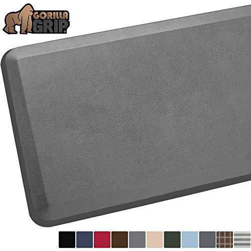 GORILLA GRIP Original Premium Anti-Fatigue Comfort Mat, Phthalate Flat, Ergonomically Engineered, Extra Support and Thick, Kitchen and Office Standing Desk, 39x20, Gray