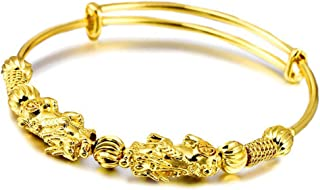 Bangle Bracelets for Women,Double Pixiu Golden Wealth Bangle Retro Ethnic Style Adjustable Women Bangle(Good choice for wedding,party,engagement,anniversary and other events or daily wear)