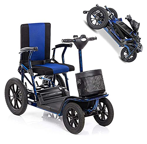 H&1 Silla de Ruedas eléctrica Scooter eléctrico Ligero Plegable eléctrico Movilidad Scooter de 4 Ruedas Rango de Crucero 25Km y Pantalla HD