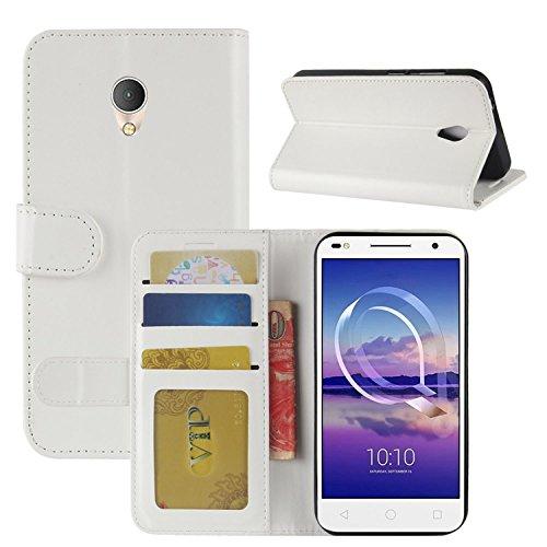 HualuBro Alcatel U5 HD Hülle, Retro Leder Brieftasche Etui Tasche Schutzhülle HandyHülle [Standfunktion] Leather Wallet Flip Hülle Cover für Alcatel U5 HD - Weiß