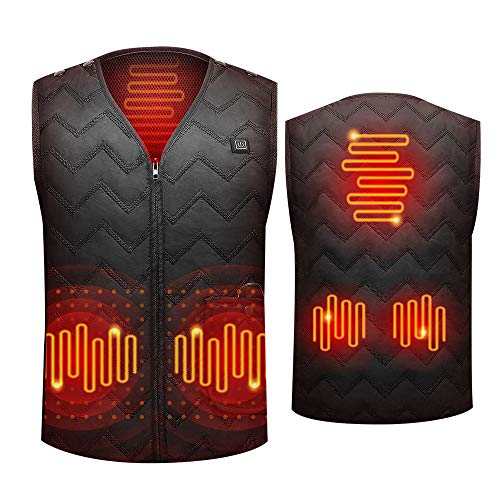 Heating Vest Washable Size Adjustable Unisex for Man and Women 5 Heating Pads 3-Gear Temp Heated Clothing for Outdoor Camping Hiking Golf Fishing Black (Battery Not Included)