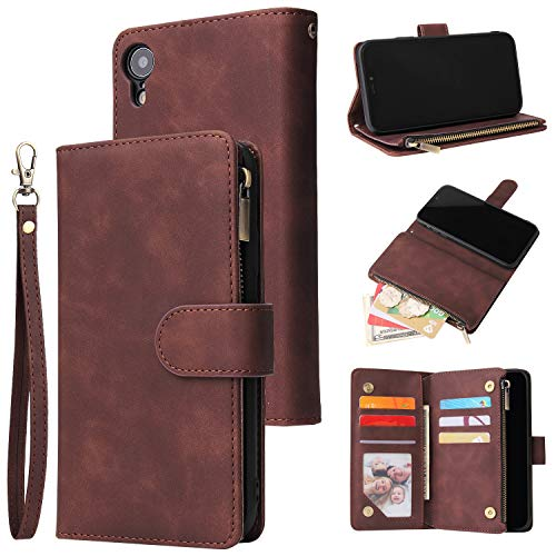 UEEBAI Wallet Case for iPhone XR, Premium Vintage PU Leather Magnetic Closure Handbag Zipper Pocket Case Kickstand Card Holder Slots with Wrist Strap TPU Shockproof Flip Cover for iPhone XR - Coffee