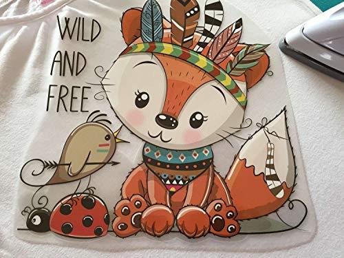 Süßes Bügelmotiv: Fuchs als Indianer | 22 x 21,5 cm groß | Bilder zum schnellen und einfachen Aufbügeln auf Textilien | Aufkleber für T-Shirts und Pullis, Polster, Taschen, Organizer, usw.…