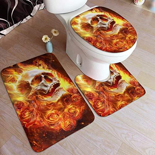 N \ A Fire Skull Flaming Rose Bathroom Antiskid Pad Set 3 Piece Soft Non-Slip Pads Bath Mat + Contour Mat Pedestal Rug + Toilet Lid Cover