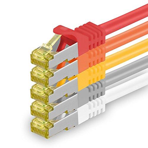 1aTTack.de Cat.7 Netzwerkkabel 0,5m 5 Farben 5 Stück Cat7 Ethernetkabel Netzwerk LAN Kabel Rohkabel 10 Gb s SFTP PIMF LSZH Set Patchkabel mit Rj 45 Stecker Cat.6a