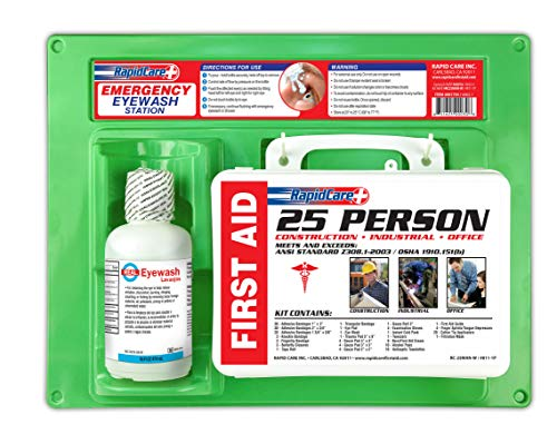 Rapid Care First Aid 661755 16 oz Eye Wash Station with First Aid Kit (166 Piece for 25 Person), OSHA/ANSI & FDA Compliant, Wall Mountable, 17' x 10 3/8' x 3 1/2'