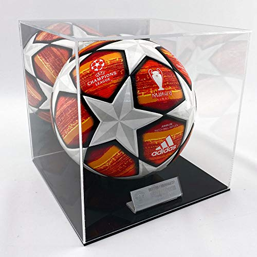 Puffin Plastics Football Display Case - Black Base - With Mirrored Back