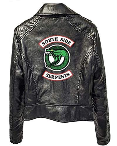 Yesgirl Riverdale Southside Serpents Giacca da Donna Ragazza alla Moda in Pelle Maglione in Pelle Slim Fit Maglione Senza Pancia Maglia Corta Moda B Nero Small