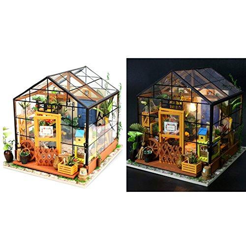 Zebroau DIY Puppenhaus, Creative Educational Assembled Model mit LED-Licht, Greenhouse Craft Kits für Frauen und Mädchen - Cathy's Flower House (ohne Staubschutz)
