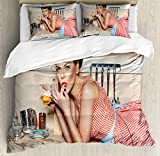 ABAKUHAUS Pin Up Girl Funda Nórdica, Niña Comiendo Un Pastel, 2 Fundas para Almohada Set Decorativo de 3 Piezas, 264 X 220 cm, Multicolor