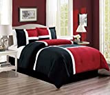 3-Piece All-Season Down Alternative Quilted Patchwork TWIN Size Comforter Set- Hypoallergenic Summer Cooling Ultra Soft Bedding- Plush Microfiber Fill - Machine Washable (Burgundy, Red, Black, White)