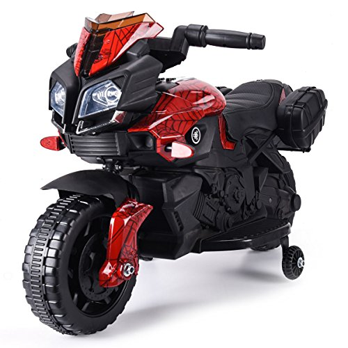 JAXPETY Kids Ride On Motorcycle 6V Toy Battery Powered Electric 4 Wheel Power Bicyle New (Lacquer Red)