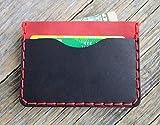 Nero e Rosso Portafoglio in pelle. Portacarte di credito, contanti o carta d'identità. Tasca Unisex in stile rustico