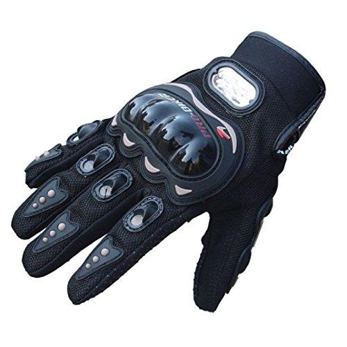 Moto Guantes de Verano, yistu Roca Negro Corto Deportes Guantes moto de piel, unisex, color Negro - negro, tamaño M :Palm width 8~8.5CM/3.1~3.4'