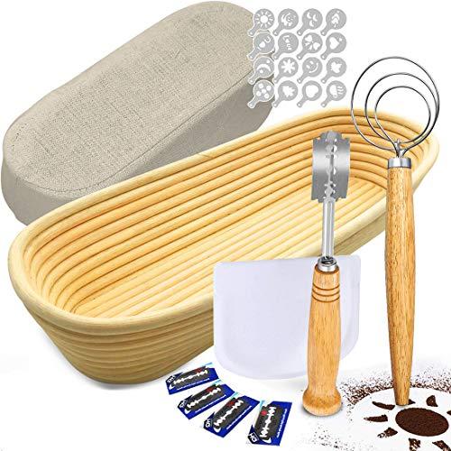 TGetWorth Gärkörbchen Oval, Garkörbchen Brot [Größe: 35 x 14 x 8 cm] - Enthält 1 Leinen-Liner, 1 Scoring Bread Lame, 1 Teig-Schneebesen, 1 Schüsselschaber, 16 Brotdekor-Schablonen