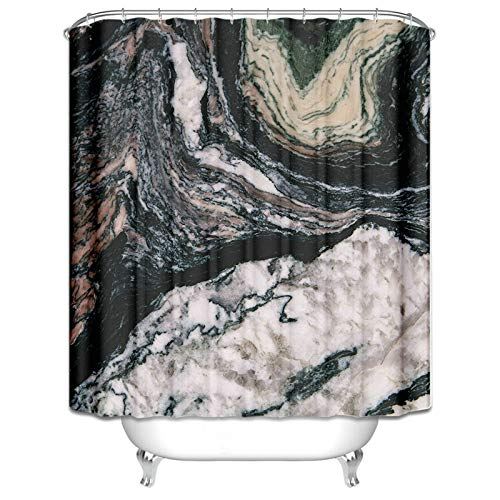 Ukilook Polyester Shower Curtains Bathroom Decoration With Hooks, Marble Pattern Print Shower Curtain, Machine Washable Fabric Shower Curtain, Polyester Fabric Hotel Quality, Black 60X80 Inch