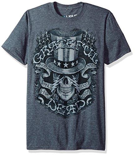 Camiseta de manga corta con texto en inglés 'Grateful Dead Memorial', color azul -  Gris -  Small