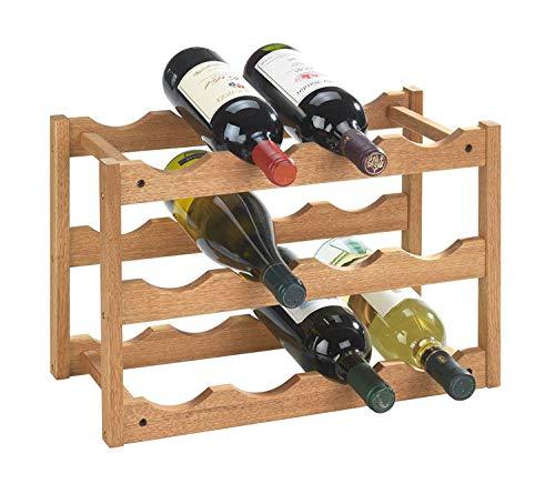 Wenko 18615100 Norway - Botellero para 12 botellas de madera de nogal (42 x 28 x 21 cm)