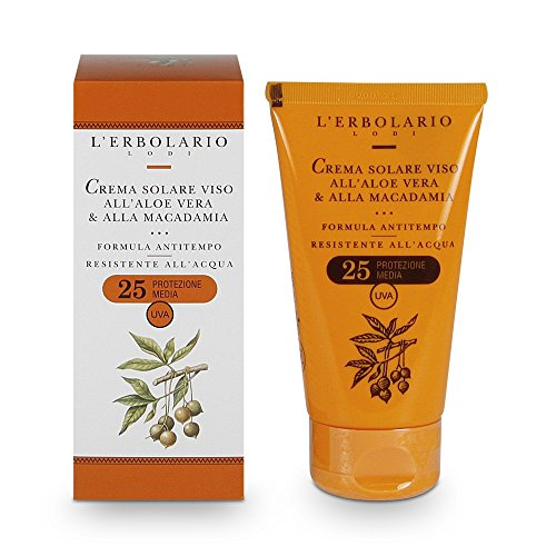 L'Erbolario Crema Solare Viso contenente Aloe Vera e Macadamia Nut con SPF 25