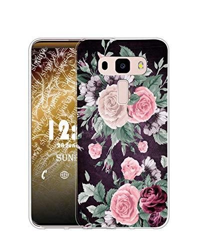 Sunrive Kompatibel mit Asus Zenfone 3 Laser ZC551KL Hülle Silikon, Transparent Handyhülle Schutzhülle Etui Hülle (Q Rose)+Gratis Universal Eingabestift MEHRWEG