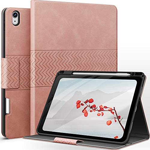 AUAUA Hülle für iPad Air 4. Generation 10.9 Zoll 2020 mit Apple Stifthalter Auto Schlaf/Aufwach Funktion PU Leder Cover (Rosa)