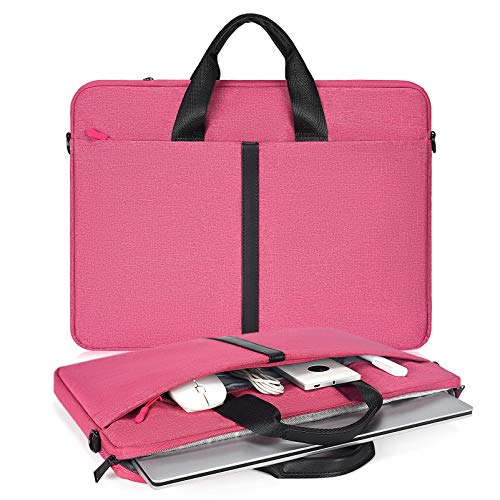 15.6 Inch Laptop Briefcase for Women Men Handbag for HP Envy/Pavilion 15.6, Dell Inspiron 15 3000 5000, Lenovo Yoga 720730 15.6, ASUS Chromebook 15.6, Acer Samsung Chromebook 15.6' Carry Case, Hotpink