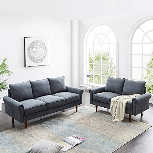 Knowlife 2-Piece Sofa Couch Living Room Furniture Sets, Loveseat and 3-Seater Couch, Gray