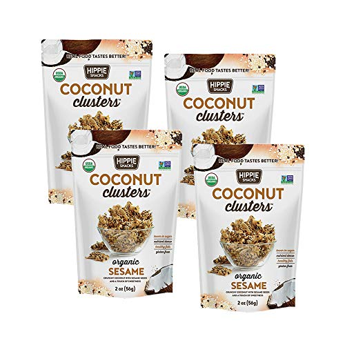 Hippie Snacks Coconut Clusters, Non-GMO, No Artificial Ingredients & Nothing Extruded, Sesame, 2oz (Pack of 4)