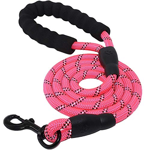 5 FT Starke Hundeleine mit Bequemen Gepolsterten Griff, Starke Reflexnähte der Trainingsleine für Sicherheit Nachts, eignet für Alle Größe Hunde (Rosa)