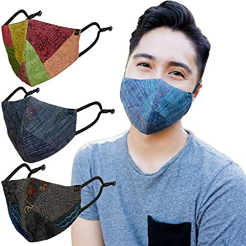 Young Threads Patchwork & All Over Embroidered Face Masks for Women 3 Layard Masks with Nose Wire Adjustable Ear Loop Washable Reusable Cotton Lining Masks – Set Of 3
