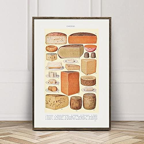 MG global Arte de pared de alimentos, diagrama de queso, decoración de cocina, queso antiguo, arte victoriano, libro de la señora Beeton, regalo para una comidería, póster de cocina, sin marco