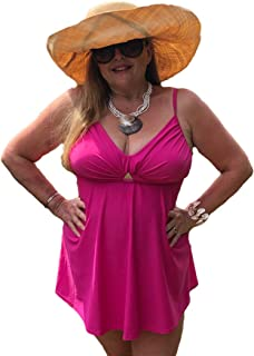 Viva Voluptuous Beautiful Plus Size Tankini Set in Black, Turquoise or Pink in US Dress Sizes 10 to 16