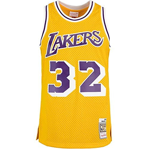 Mitchell & Ness Swingman Magic Johnson L.A. Lakers 84/85 - Camiseta (talla L), color amarillo y morado