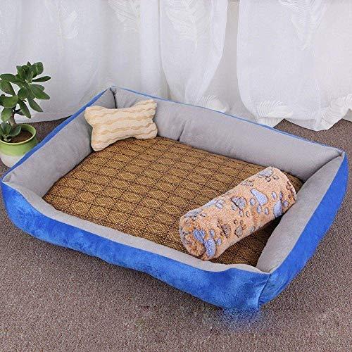 HAOSHUAI Haustier-Bett, Haustier-Hundebett Soft Blue Welpen-Katze-Haus mit All Season Decken Knochen Kissen Nest Sommer Kühl Rattanhintergrund Pet Products, S (Size : L)