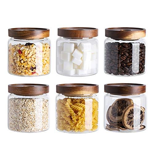 Kanwone Glass Storage Jars Set of 6, 17 Ounce Airtight Food Storage Containers with Bamboo lids, Clear Glass Canisters for Pantry, kitchen, Flour, Sugar, Tea, Coffee, Snack, Spice and Herbs airtight food storage containers