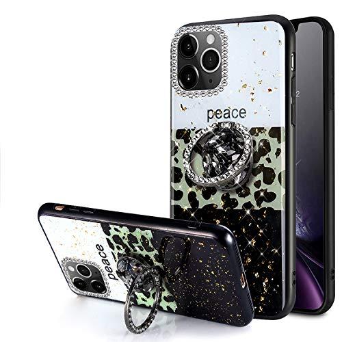 Carcasa con purpurina para iPhone 11 Pro, para niñas y mujeres, vidrio de TPU brillante con purpurina, lentejuelas, gel de goma suave, anillo bling de TPU para iPhone 11 Pro Bling Case, Mix-Leopard