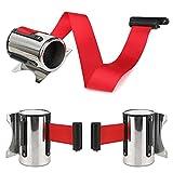 KOET - Cinturón de barrera de cola de 2/3/5 m para montaje en pared, barrera de cuerda retráctil de acero inoxidable, color rojo, negro, azul, verde, No nulo, Rojo, 5 m