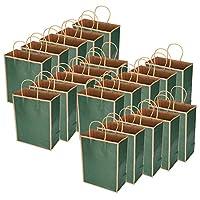 【クリスマスプレゼント】トートバッグ20pcs再利用可能な紙バッグ、再利用可能な環境に優しいバッグ環境に優しいバッグ、クラフト紙バッグ買い物用引裂抵抗服(Border solid dark green)