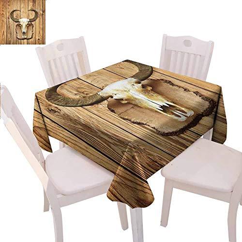 Western-Tischdecke, quadratisch, Büffel-Stierschädel mit Hörnern, zum Aufhängen an rustikalem Holzbohlen-Druck, dekorativer Tisch, 127 x 127 cm, Hellbraun und Elfenbein