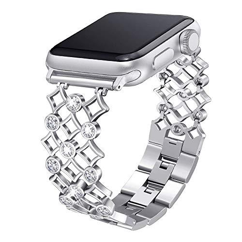 HZNYYY Compatibile per Cinturino Apple Watch 38Mm 40Mm 42Mm 44Mm Cinturino da Polso per Donna con Brillantini Strass Diamante Cinturino in Metallo per Iwatch Serie 5/4/3/2/1,Argento,42/44MM