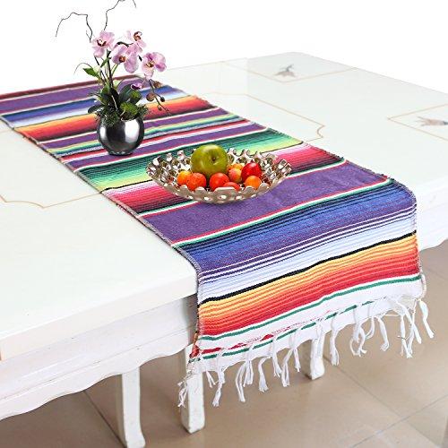 KEREDA Mexikanischer Tischläufer, Bunt Mexikanische Decke, Abwaschbar Küchentischdecke für Garten Party Outdoor Hochzeit - 14 Zoll x 84 Zoll