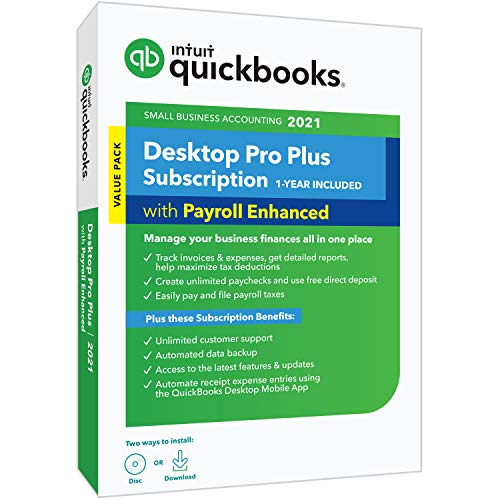 QuickBooks Desktop Pro Plus with Enhanced Payroll 2021 Accounting Software 1-Year Subscription with Shortcut Guide [PC Disc]