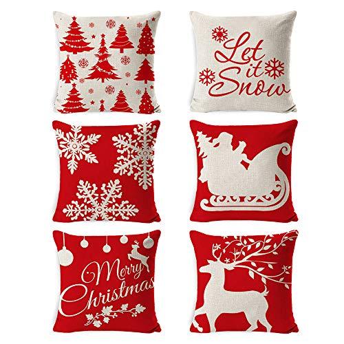TDCQ 6PCSFundas para Cojines de Sofa,Funda de Almohada Navideña, Funda de cojín,Lino Cojines,Cojín de sofá de Navidad,Funda de Almohada Lino de algodón