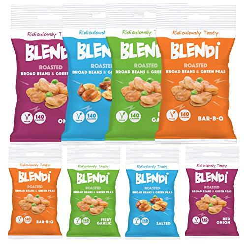 Blendi Snacks Saludables Bajos en Calorías - Aperitivos Sin Gluten, Altos en Proteína Vegana y Fibra - Surtido de 4 Sabores de Habas y Guisantes Tostados - 8 x 35g Bolsas de Aperitivos Gourmet