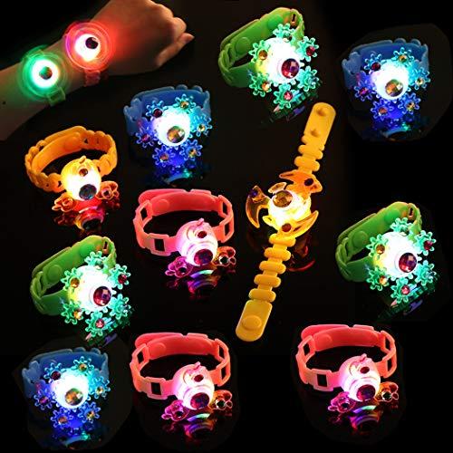 JUSTDOLIFE 12PCS LED Bracelet Spinning Top Decor Light up Bracelet Flash Bracelet pour enfants
