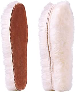 Women's Premium Thick Sheepskin Insoles/Inserts, Warm Fluffy Fleece Wool Replacement Insoles for Shoes Boots Slippers